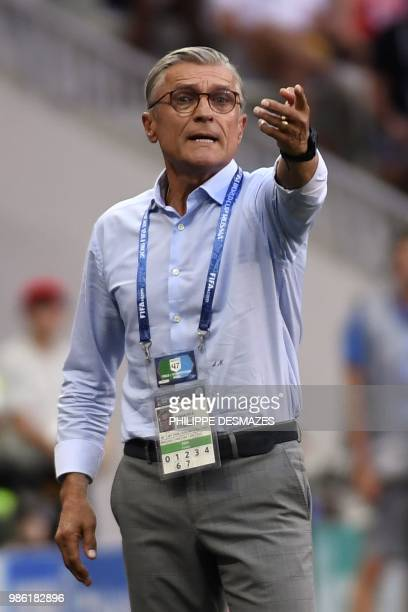 Poland's coach Adam Nawalka gestures from the sideline during the Russia 2018 World Cup Group H football match between Japan and Poland at the...