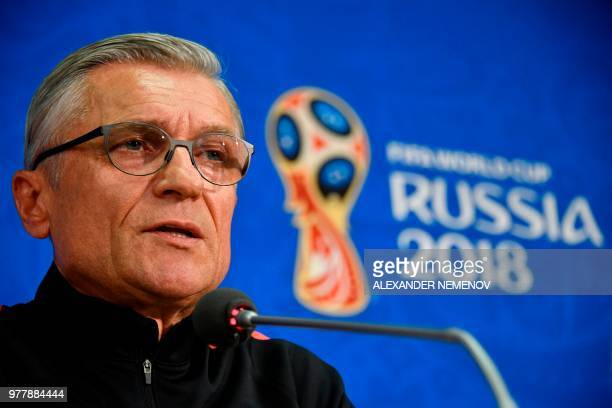 Poland's coach Adam Nawalka looks on during a press conference on June 18, 2018 on the eve of their Russia 2018 World Cup Group H football match...