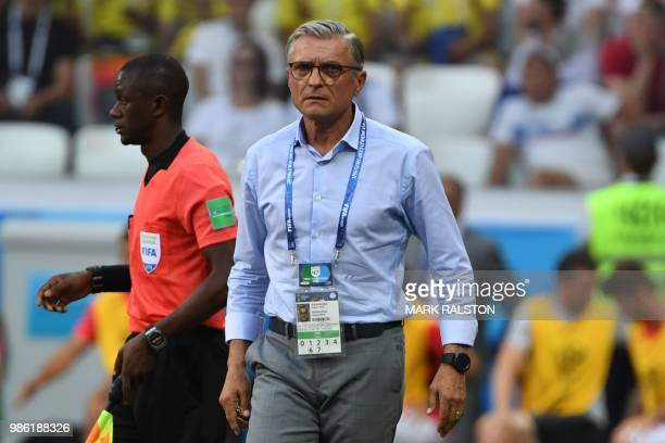 Poland's coach Adam Nawalka looks on during the Russia 2018 World Cup Group H football match between Japan and Poland at the Volgograd Arena in...