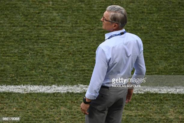 Poland's coach Adam Nawalka watches the action from the touchline during the Russia 2018 World Cup Group H football match between Japan and Poland at...
