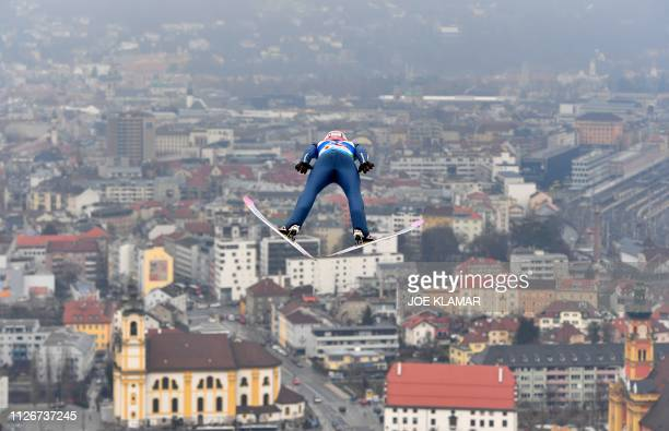 Poland's Dawid Kubacki soars in the air during his trial jump before the Ski Jumping event at the FIS Nordic World Ski Championships at...