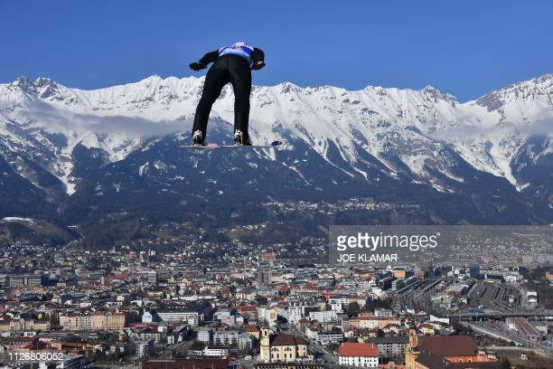 Polands Dawid Kubacki soars in the air during his trial jump for the Ski Jumping event at the FIS Nordic World Ski Championships at BergiselSchanze...