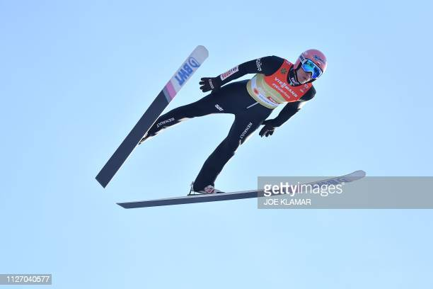 Poland's Dawid Kubacki soars in the air during the men's HS130 ski jumping team event at the FIS Nordic World Ski Championships in Innsbruck Austria...