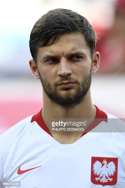 Poland's defender Bartosz Bereszynski poses before the Russia 2018 World Cup Group H football match between Japan and Poland at the Volgograd Arena...