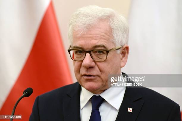 Poland's Foreign Minister Jacek Czaputowicz speaks during a joint press conference with Hungary's Foreign and Trade Minister on February 27 2019 in...