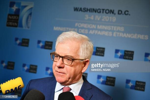Poland's Foreign Minister Jacek Czaputowicz speaks to reporters during the NATO Foreign Ministers Meeting at the State Department in Washington DC on...