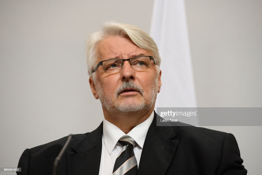 Poland's Foreign Minister Witold Waszczykowski addresses members of the media during a joint UK/Poland press conference in the Foreign and Commonwealth Office on October 12, 2017 in London, England. The UK and Poland held bilateral talks in Westminster, covering issues such as European security and military co-operation.