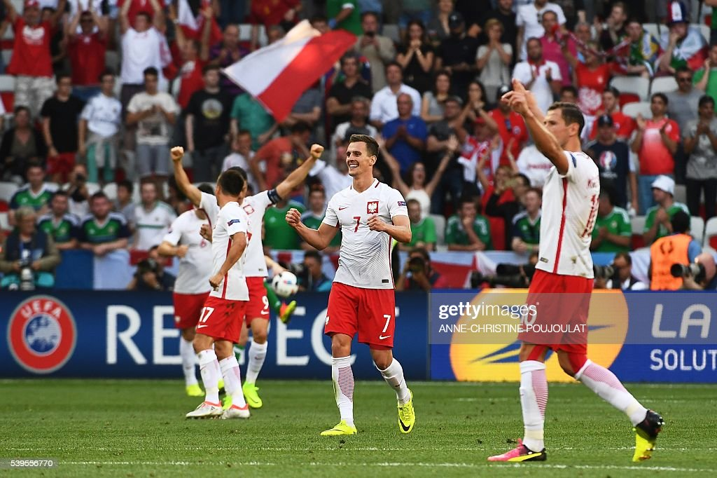 TOPSHOT - Poland's forward Arkadiusz Milik (C) and teammates celebrate at the end of the Euro 2016 group C football match between Poland and Northern Ireland at the Stade de Nice in Nice on June 12, 2016. / AFP / ANNE