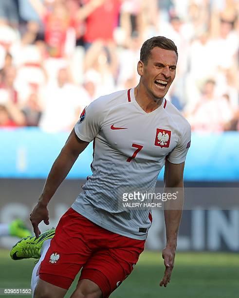 Poland's forward Arkadiusz Milik celebrates his goal during the Euro 2016 group C football match between Poland and Northern Ireland at the Allianz...