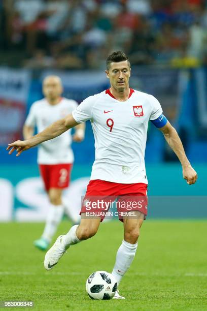 Poland's forward Robert Lewandowski controls the ball during the Russia 2018 World Cup Group H football match between Poland and Colombia at the...