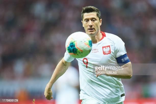 Poland's forward Robert Lewandowski plays the ball during the Euro 2020 qualifier Group G football match Poland v Macedonia in Warsaw, Poland, on...