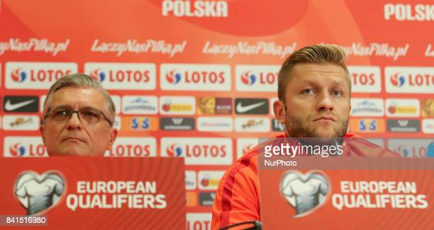 Poland's head coach Adam Nawalka and Jakub Blaszczykowski during press conference before FIFA World Cup 2018 qualifier MD1 between Denmark and Poland...