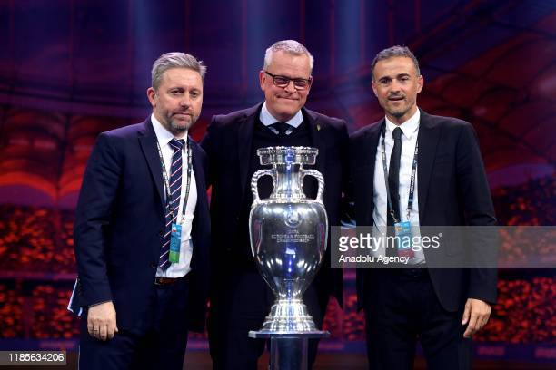 Poland's head coach Jerzy Brzeczek, Sweden's head coach Jan Andersson and Spain's head coach Luis Enrique pictured with the trophy after the UEFA...