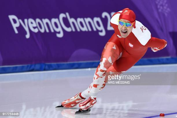 Poland's Jan Szymanski competes in the men's 1500m speed skating event during the Pyeongchang 2018 Winter Olympic Games at the Gangneung Oval in...