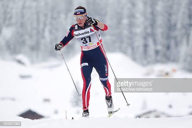 Poland's Justyna Kowalczyk competes during the Ladies 10 km Classic Individual at the cross country FIS world cup on December 11 2010 in Davos...