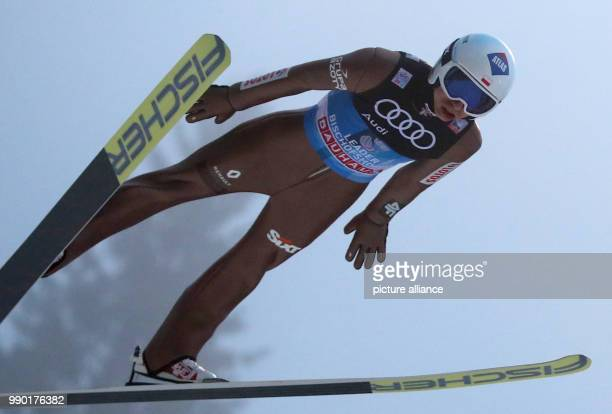 Poland's Kamil Stoch performs his trial jump at the Four Hills Tournament in Bischofshofen Austria 6 January 2018 Photo Daniel Karmann/dpa