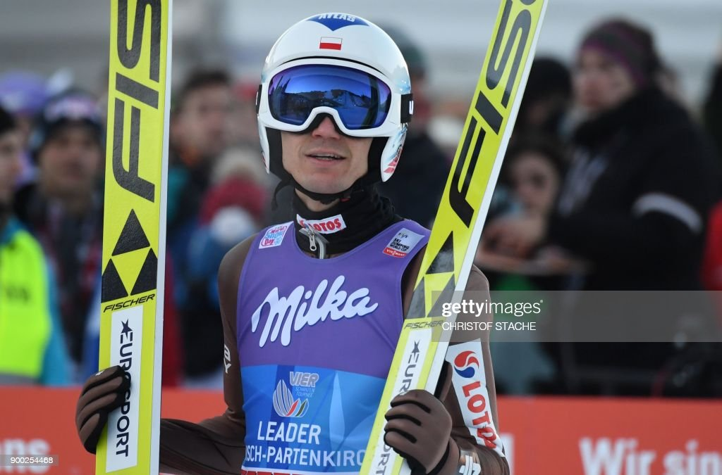 Poland's Kamil Stoch reacts after his competition jump to win the ski jumping event in Garmisch-Partenkirchen, southern Germany, which was the second station of the Four-Hills Ski Jumping tournament (Vierschanzentournee), on January 1, 2018. /