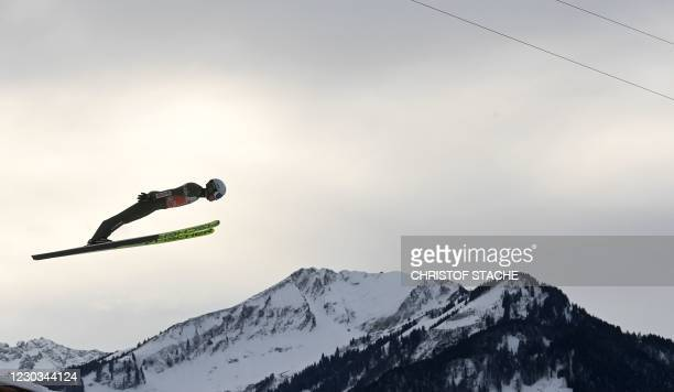 Poland's Kamil Stoch soars through the air during a training of the Four-Hills Ski Jumping tournament , in Oberstdorf, southern Germany, on December...