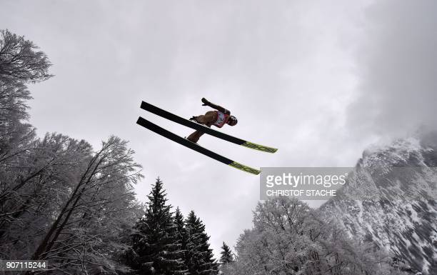 TOPSHOT Poland's Kamil Stoch soars through the air during the qualifying round of the individual competition at the skiflying world championships on...