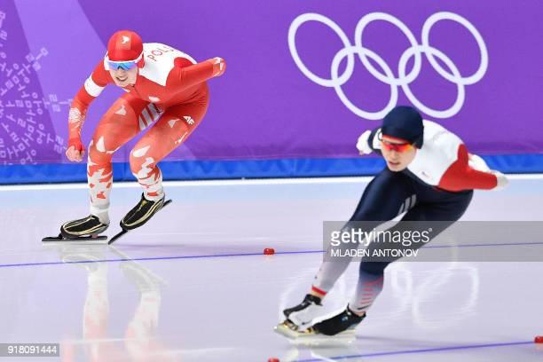 Poland's Karolina Bosiek and Czech Republic's Nikola Zdrahalova compete in the women's 1000m speed skating event during the Pyeongchang 2018 Winter...