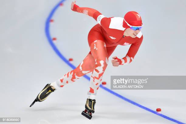 Poland's Karolina Bosiek competes in the women's 1000m speed skating event during the Pyeongchang 2018 Winter Olympic Games at the Gangneung Oval in...