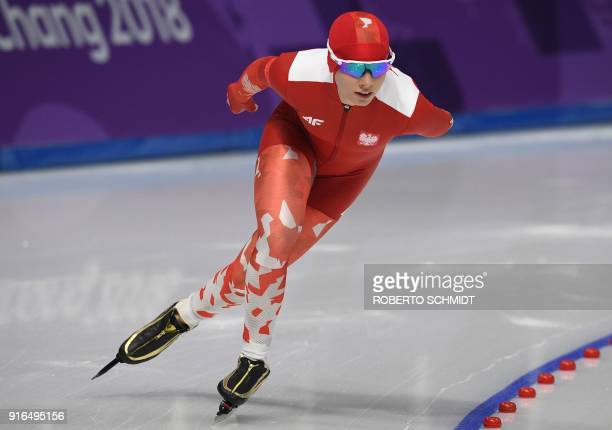 Poland's Karolina Bosiek competes in the women's 3000m speed skating event during the Pyeongchang 2018 Winter Olympic Games at the Gangneung Oval in...