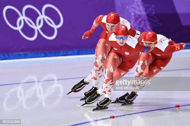 Poland's Karolina Bosiek Poland's Luiza Zlotkowska and Poland's Natalia Czerwonka compete in the women's team pursuit final D speed skating event...