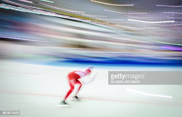 TOPSHOT Poland's Katarzyna BachledaCurus skates during the 3000m women race of the European Speed Skating Championship in Kolomna on January 6 2018 /...