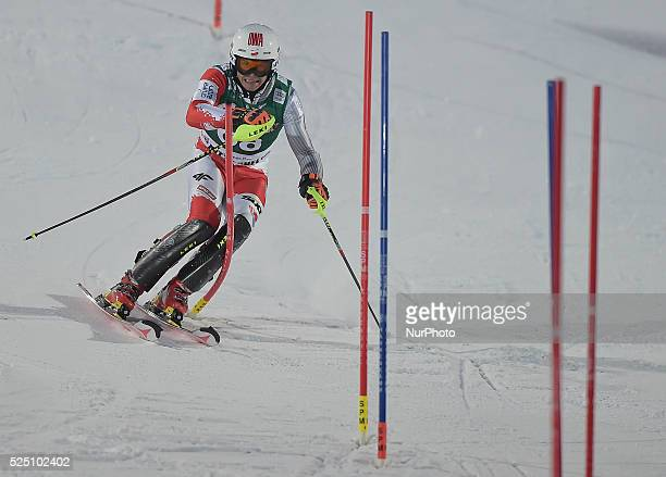 Poland's Maciej Bydlinski, finishes the famous Hahnenkamm course on the 12th position - the men's Alpine Combined - Slalom, at the FIS SKI World Cup...