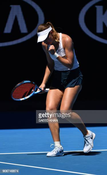 Poland's Magda Linette reacts during their women's singles third round match against Czech Republic's Denisa Allertova on day five of the Australian...