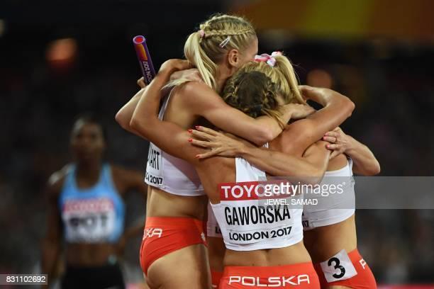 Poland's Malgorzata Holub Poland's Iga Baumgart Poland's Aleksandra Gaworska and Poland's Justyna Swiety celebrate bronze after the final of the...