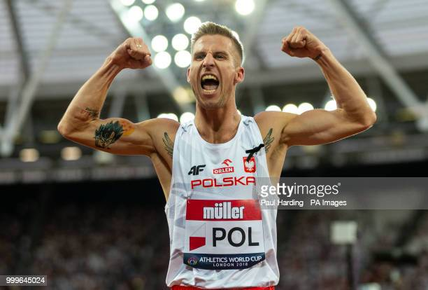 Poland's Marcin Lewandowski celebrates winning the Mens 1500m during day two of the Athletics World Cup at The Queen Elizabeth Stadium London