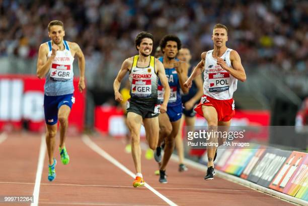 Poland's Marcin Lewandowski wins the Mens 1500m during day two of the Athletics World Cup at The Queen Elizabeth Stadium London