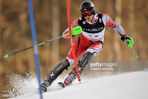 Poland's Michal Klusak competes during the men's Alpine skiing World Championship Super Combined event in Garmisch Partenkirchen southern Germany on...