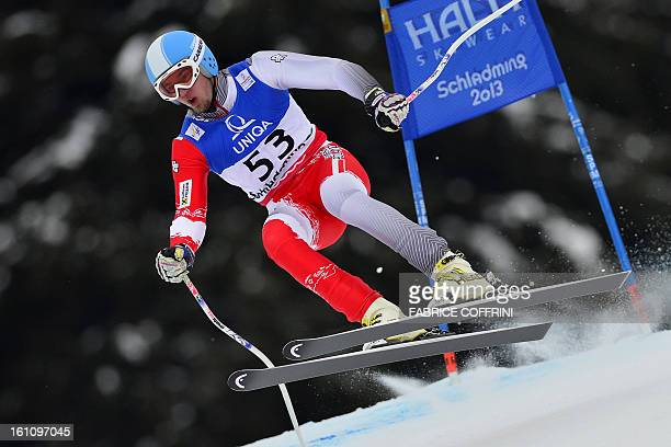 Poland's Michal Klusak competes during the men's downhill event of the 2013 Ski World Championships in Schladming Austria on February 9 2013 AFP...