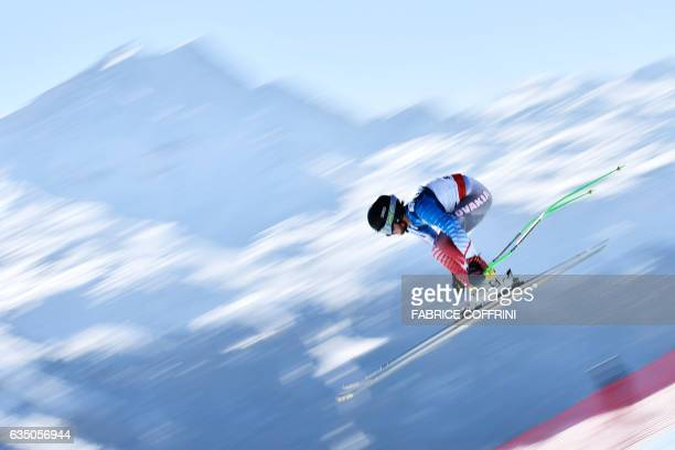 Poland's Michal Klusak competes in the downhill race of the men's Alpine Combined event at the 2017 FIS Alpine World Ski Championships in St Moritz...