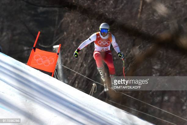 Poland's Michal Klusak competes in the Men's Alpine Combined Downhill at the Jeongseon Alpine Center during the Pyeongchang 2018 Winter Olympic Games...