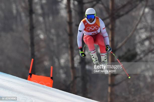 Poland's Michal Klusak competes in the men's downhill at the Jeongseon Alpine Center during the Pyeongchang 2018 Winter Olympic Games in Pyeongchang...
