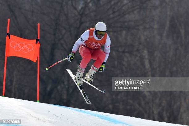 Poland's Michal Klusak takes part in the Men's Downhill 2nd training at the Jeongseon Alpine Center during the Pyeongchang 2018 Winter Olympic Games...