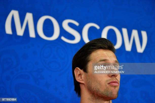 Poland's midfielder Grzegorz Krychowiak looks on during a press conference on June 18 2018 on the eve of their Russia 2018 World Cup Group H football...