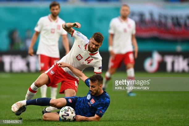 Poland's midfielder Mateusz Klich and Slovakia's midfielder Jakub Hromada vie for the ball during the UEFA EURO 2020 Group E football match between...