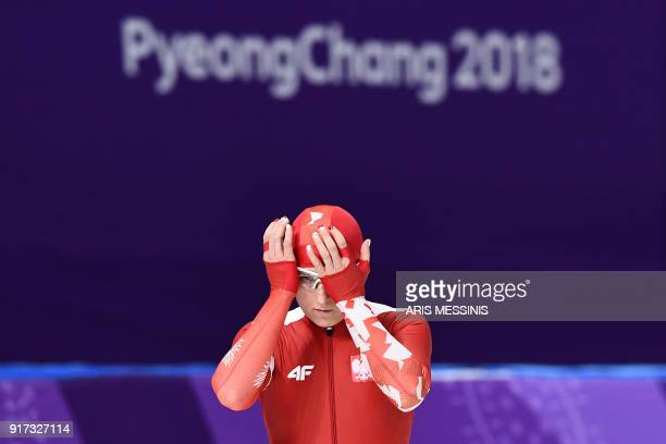 Poland's Natalia Czerwonka prepares to compete in the women's 1,500m speed skating event during the Pyeongchang 2018 Winter Olympic Games at the...
