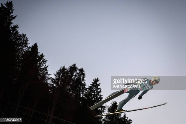 Poland's Piotr Zyla competes for the third place in the men's FIS Ski Jumping World Cup competition in Engelberg, central Switzerland, on December...