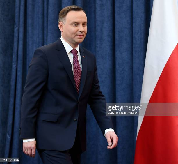 Poland's President Andrzej Duda arrives to deliver a statement on December 20, 2017 in Warsaw, where he announced that he signed into law two...
