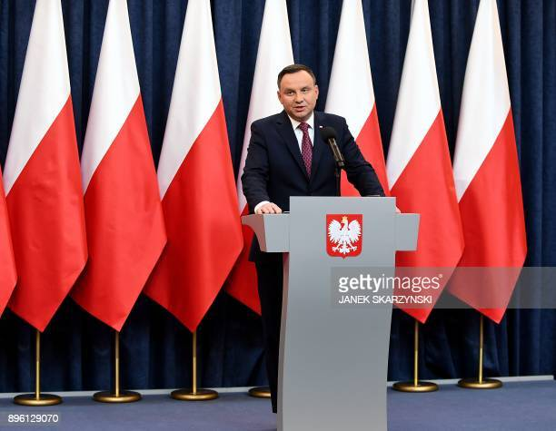 Poland's President Andrzej Duda delivers a statement on December 20, 2017 in Warsaw, where he announced that he signed into law two controversial...