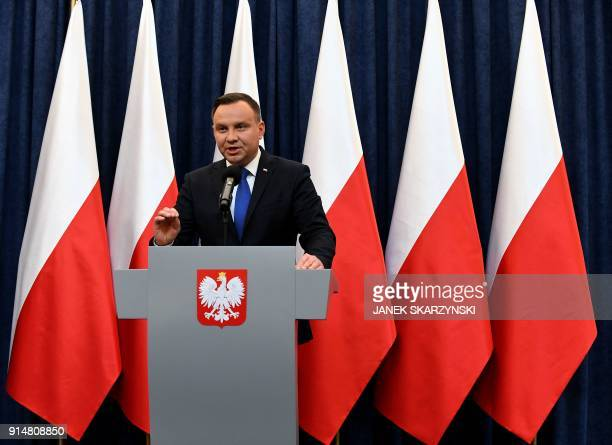 Poland's President Andrzej Duda gives a press conference on February 6 2018 in Warsaw to announces that he will sign into law a controversial...