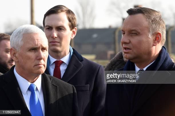 Poland's President Andrzej Duda US Vice President Mike Pence and White House US Senior Advisor Jared Kushner visit the former German Nazi death camp...