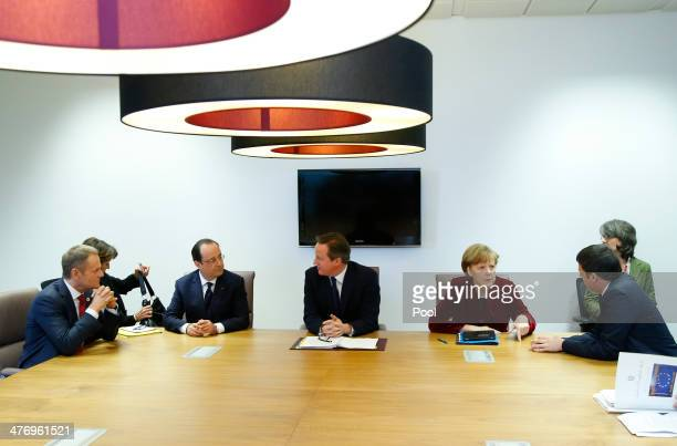 Poland's Prime Minister Donald Tusk, France's President Francois Hollande, Britain's Prime Minister David Cameron, Germany's Chancellor Angela Merkel...