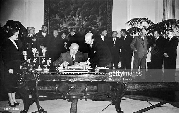 Poland'S Prime Minister Jozef Cyrankiewicz Signing The Warsaw Pact On May 14 1955