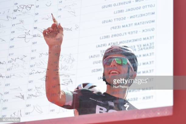 Poland's Rafal Majka from Bora Hansgrohe Team ahead of the start to the second stage 154km Yas Island Stage from Yas Mall to Yas Beach On Thursday...